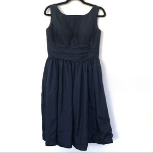 Azazie Navy Blue Scoop Midi Knee Bridesmaid Dress